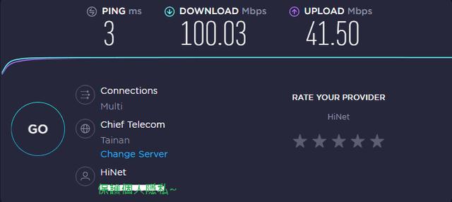 沒有連接VPN時的正常速度