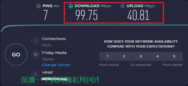 我家裡的速度是中華電信100M/40M