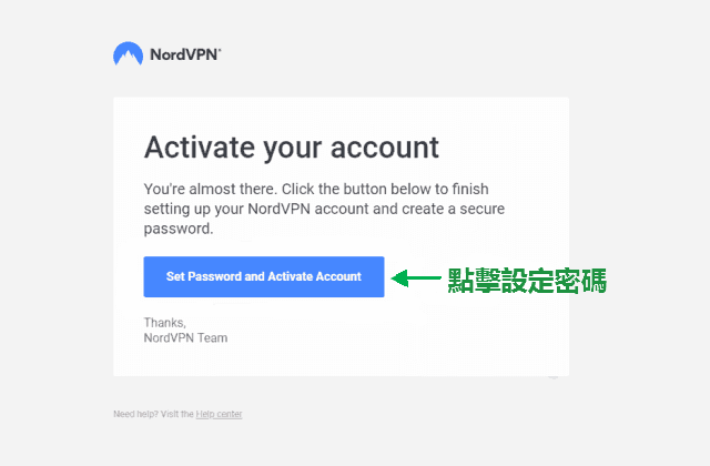 "點擊 "" Set Password and Activate Account"" 前往設定密碼"