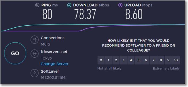 連接日本VPN時的速度