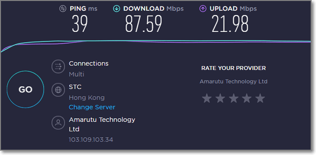 連接香港VPN時的速度