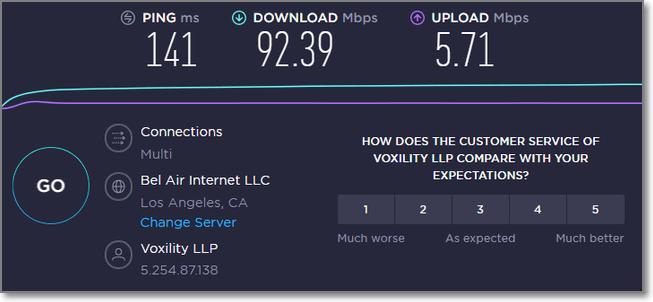 連接美國VPN時的速度