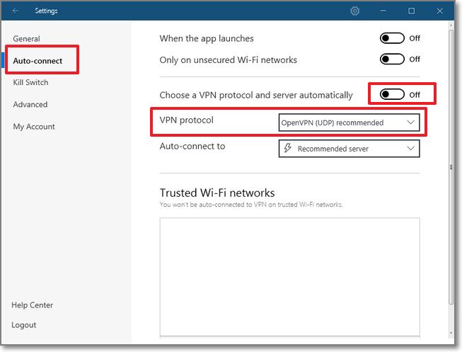 到 Auto-connect > 將 Choose a VPN protocol and server automatically 關掉 >  將 VPN protocol 設定調整為 OpenVPN (UDP) recommended
