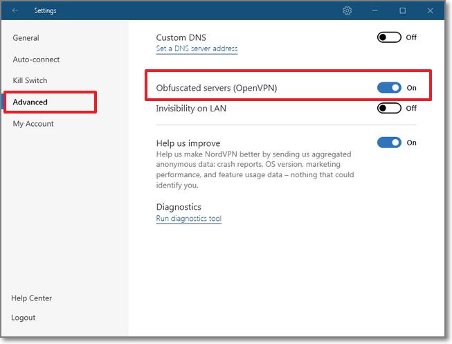 到 Advanced > 將 Obfuscated Servers(OpenVPN) 開啟