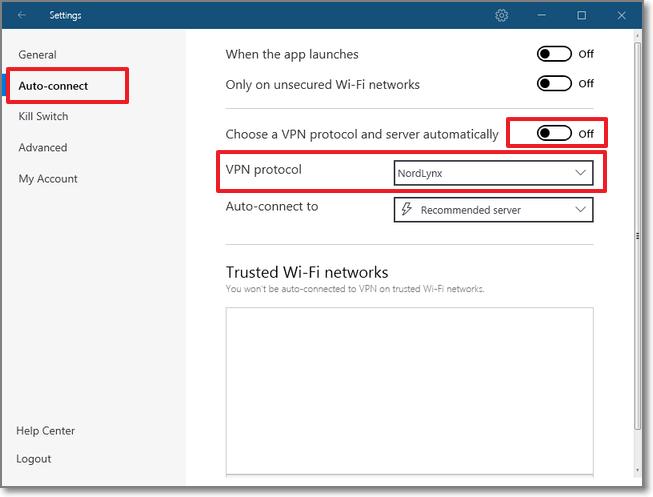 到 Auto-connect >將 Choose a VPN protocol and server automatically 關掉 >將 VPN protocol 設定調整為 NordLynx