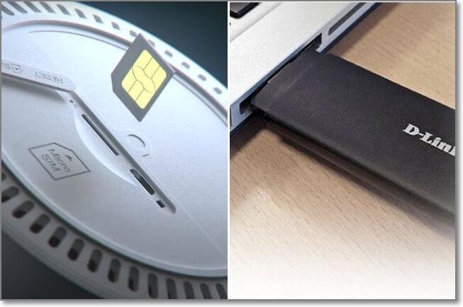 內建SIM卡與USB外接網卡的差別