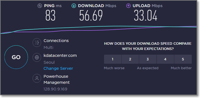 連接韓國VPN時的速度