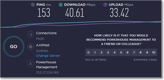 連接澳洲VPN時的速度