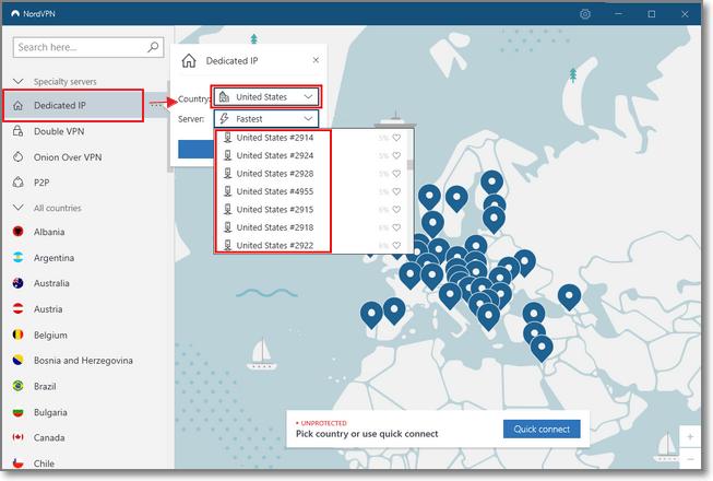 """點擊 """"Dedicated IP"""" > """"Country"""" 選擇你想連線的國家跟伺服器"""